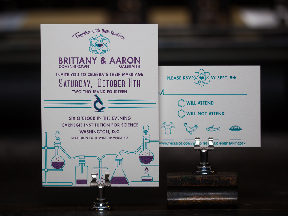 Customer:  Brittany  Artwork by:  The Laughing Owl Press Co.  Paper Stock:  220lb Lettra Pearl, 110lb Lettra Pearl  Process:  2C Letterpress / 0c, 1C Letterpress / 0c  Press:  Vandercook 219 OS