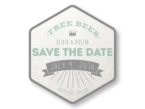 free beer br save the date coaster the laughing owl press co