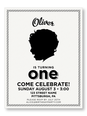 Striped Border BrBoy Birthday Invitation The Laughing Owl Press