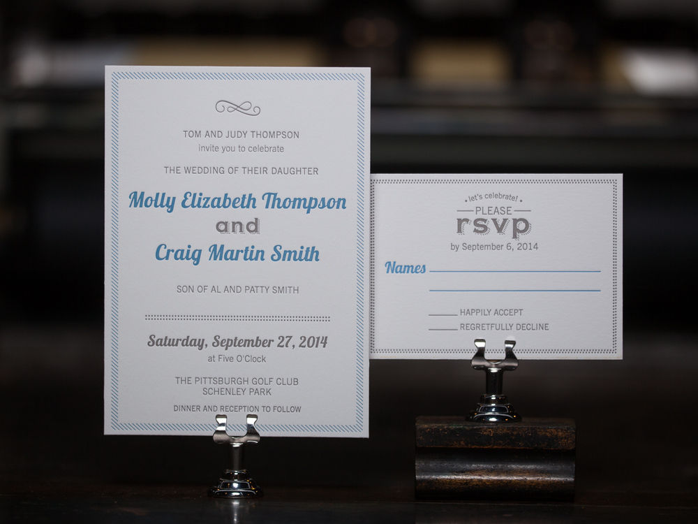 Customer:  Molly & Craig  Artwork by:  The Laughing Owl Press Co. & Reid Thompson  Paper Stock:  220lb Lettra Bright White  Process:  2C Letterpress / 0c, 2C Letterpress / 0c  Press:  Vandercook 219 OS