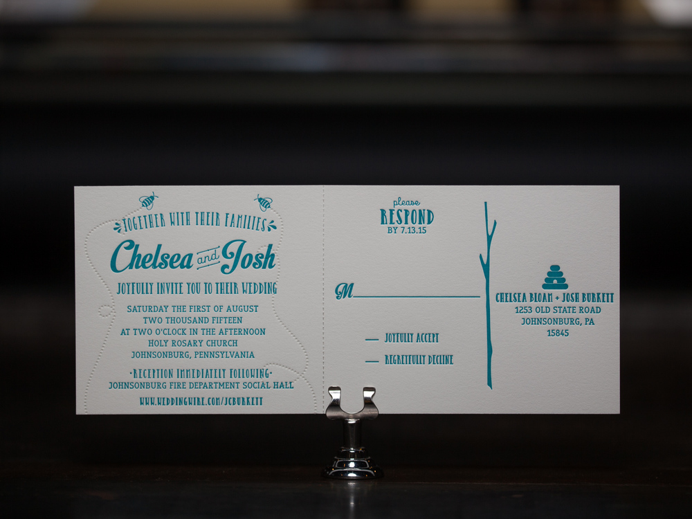Customer:  Chelsea & Josh  Artwork by:  The Laughing Owl Press Co.  Paper Stock:  110lb Lettra Pearl  Process:  2C Letterpress / 0c,  Press:  Vandercook 219 OS