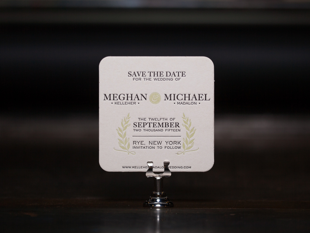 Customer:  Meghan & Michael  Artwork by:  The Laughing Owl Press Co.  Paper Stock:  80pt. Coaster Stock  Process:  2C Letterpress / 0c  Press:  Chandler & Price
