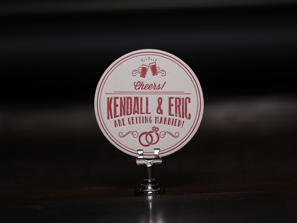 Customer:  Kendall & Eric  Artwork by:  The Laughing Owl Press Co.  Paper Stock:  80pt. Coaster Stock  Process:  1C Letterpress / 0c  Press:  Chandler & Price