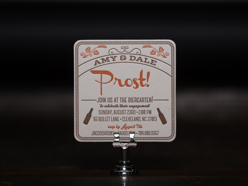 Customer:  Amy & Dale  Artwork by:  The Laughing Owl Press Co.  Paper Stock:  80pt. Coaster Stock  Process:  2C Letterpress / 0c  Press:  Chandler & Price