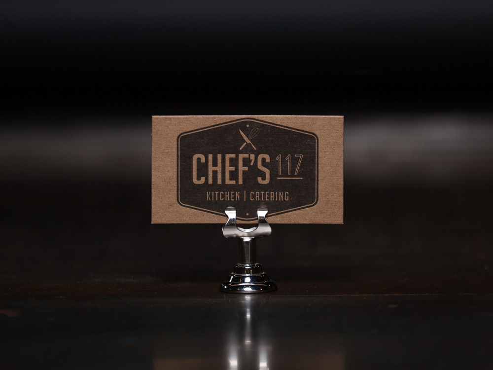Customer:   Chef's 117   Artwork by:  The Laughing Owl Press Co.  Paper Stock:  30pt. Chip Board  Process:  1C Letterpress/ 1c Letterpress  Press:  Chandler & Price