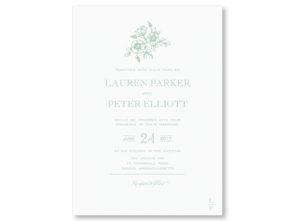Formal FlowerbrWedding Invitation Suite The Laughing Owl Press