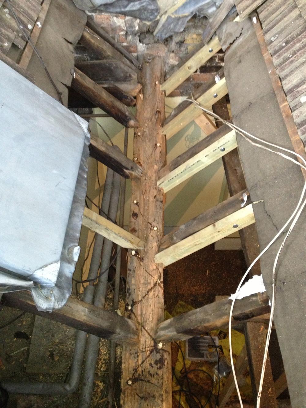Boron rod treatment to wet rot.