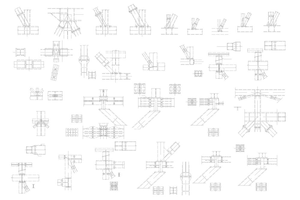 Plan des details de la charpente métallique de PEC