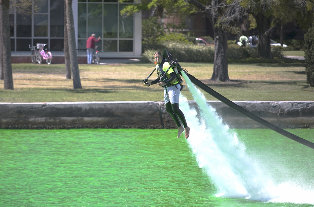 A demonstration of a water propelled jet pack shown on the Hillsborough River in Tampa during the 2nd annual Mayors River O'Green celebration for St Patricks day in 2013