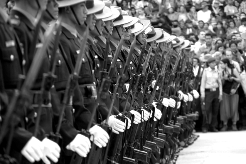 Covering the Kumari Festival in Kathmandu, The Nepalese Military stand guard