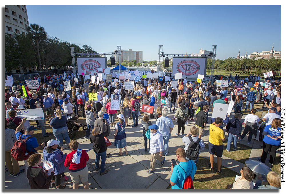 Thousands of people filled Kiley Garden in downtown Tampa for the March For Our Lives Tampa rally