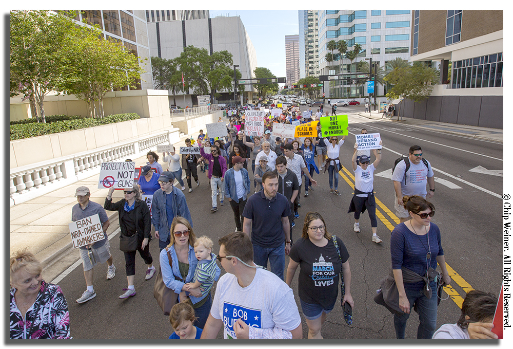 The protestors made their way over the Kennedy Bridge on their 1.5 mile trek through South Tampa