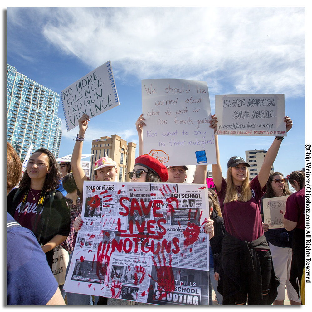 High School students gathered in Kiley Garden for the March For Our Lives Tampa demonstration and march