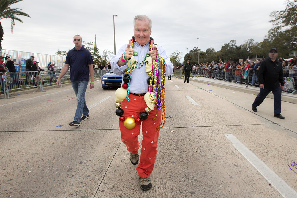 Tampa Mayor Bob Buckhorn adorned in large skull beads and skull and cross bones pants.jpg