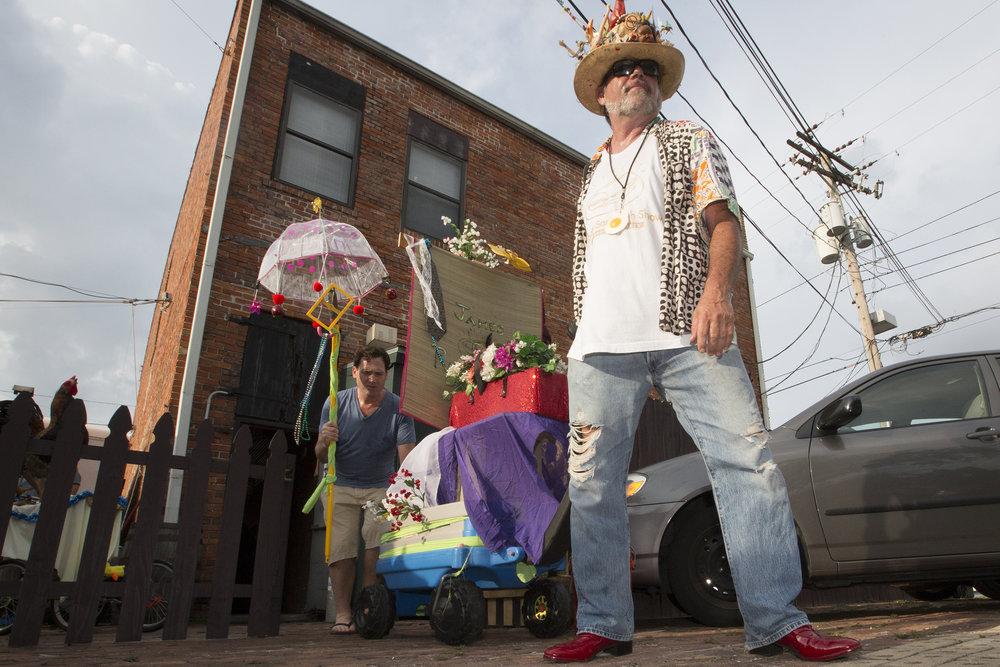 David Audet Leaves The Dirty Shame Pub on Ybor Chicken parade procession