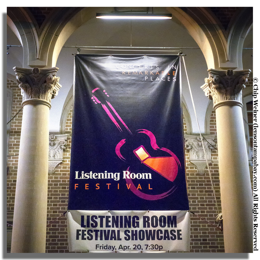 Listening room festival banner is hung on the Palladium Theater for the Listening Room Showcase