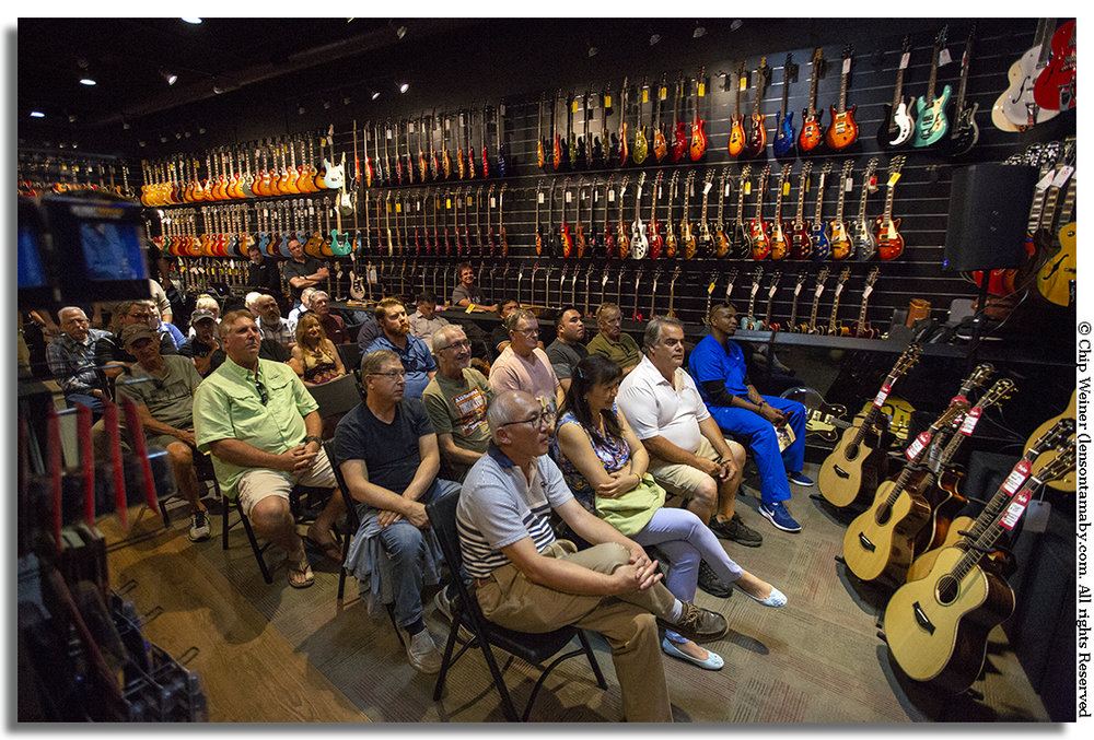 Demonstrations are held in the acoustically tight store space drowning in a sea of guitars, perfect if you are a guitar player. The audience is invited to try out the instruments after the demo