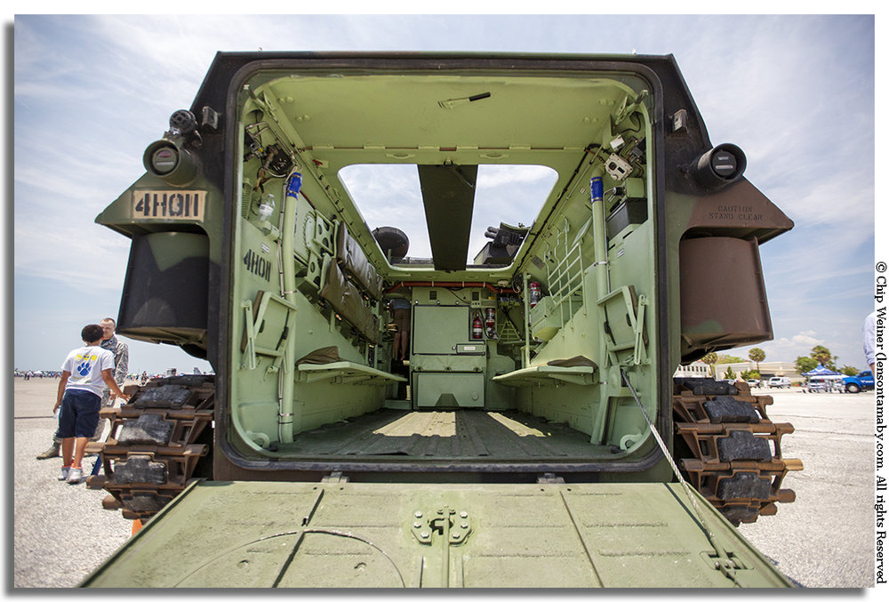 This armored personnel carrier is what carries our troops in to battles. Visitors can sit in at and get the sense of what it is like.