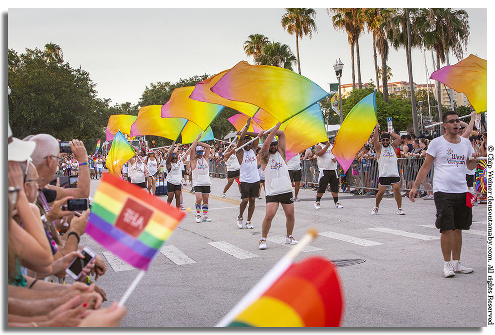 The main event followed the march at 7:30 and featured groups like Werk Colorguard