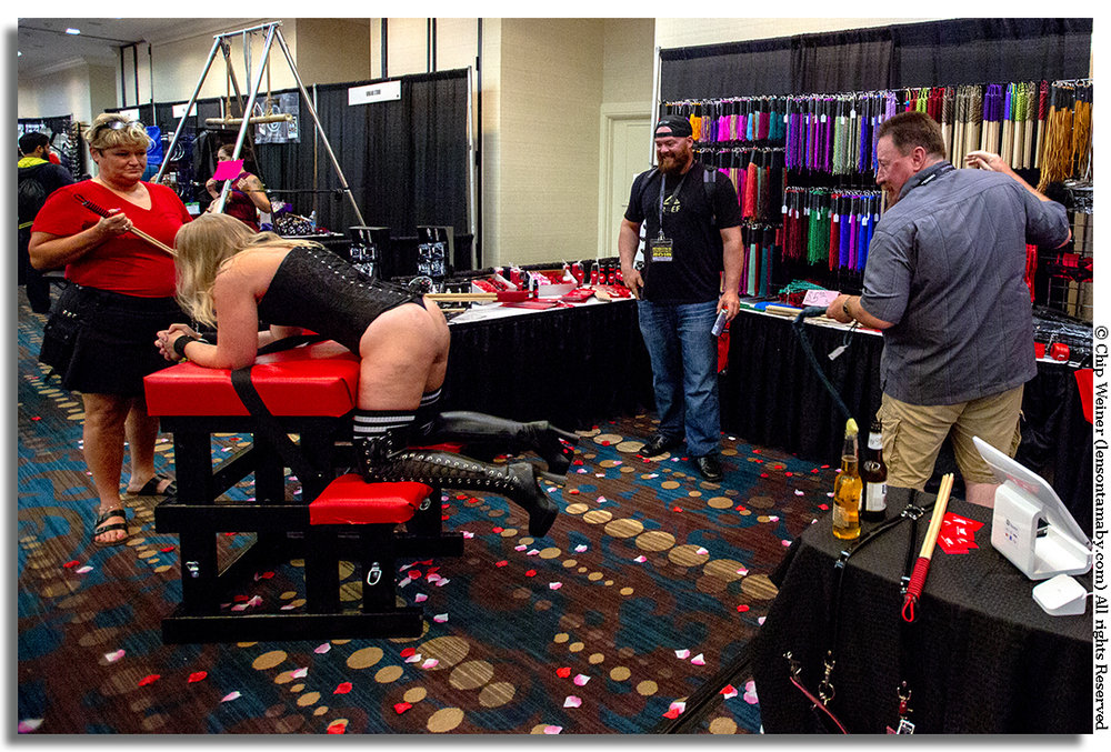 Please sir, may I have another? After the demo, customers can try before they buy whips and other devices at Fetish Con 2018. BTW, not all spanking is meant to hurt.. another fact I didn't know...