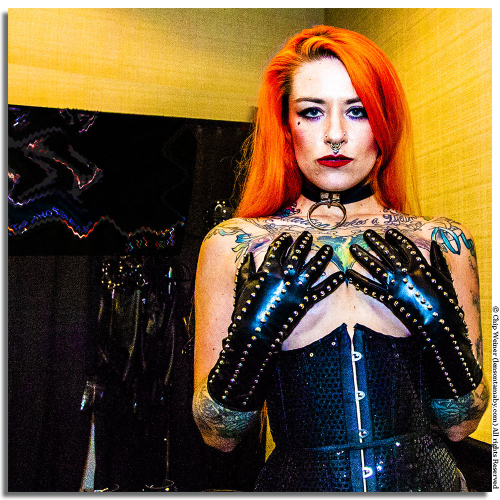 Quinn Carter, one of the personalities appearing at Fetish Con 2018 in St Petersburg, dressed in her leather best