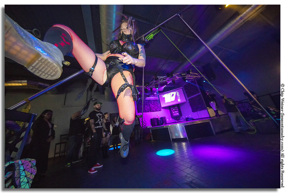 More experienced like piercing and suspension artist    Penny West     are similar to trapeze flyers, dangling and swinging across the area to the delight of the crowd.