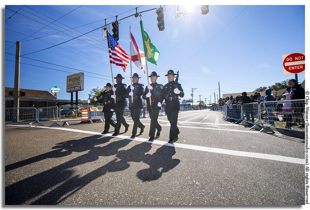 The Hillsborough County Sheriff's office colorguard leads things off down the parade route