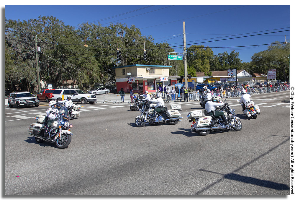 The Sheriff's office motorcycle unit performs tricky maneuvers