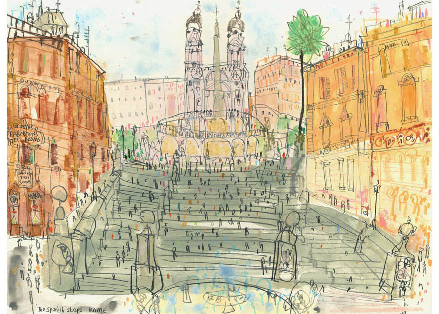 'The Spanish Steps Rome'  Giclee print Image size  40.5 x 30 cm Edition size 195 £140