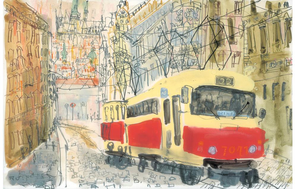 'Tram to Bila Hora, Prague'  Giclee print 29 x 44 cm Edition size 195   £140
