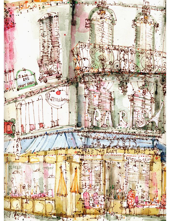 'Parisian Cafe'  Giclee print  30 x 40.5 cm Edition size 150 £145
