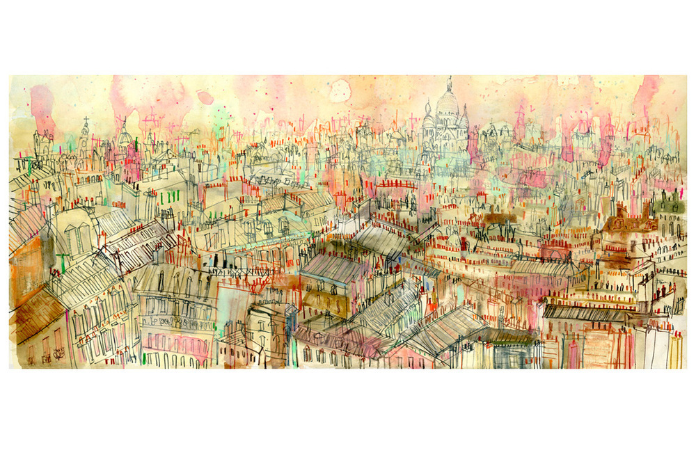 'View over Parisian Rooftops'  Giclee print Image size 25 x 57 cm Edition size 195    £160
