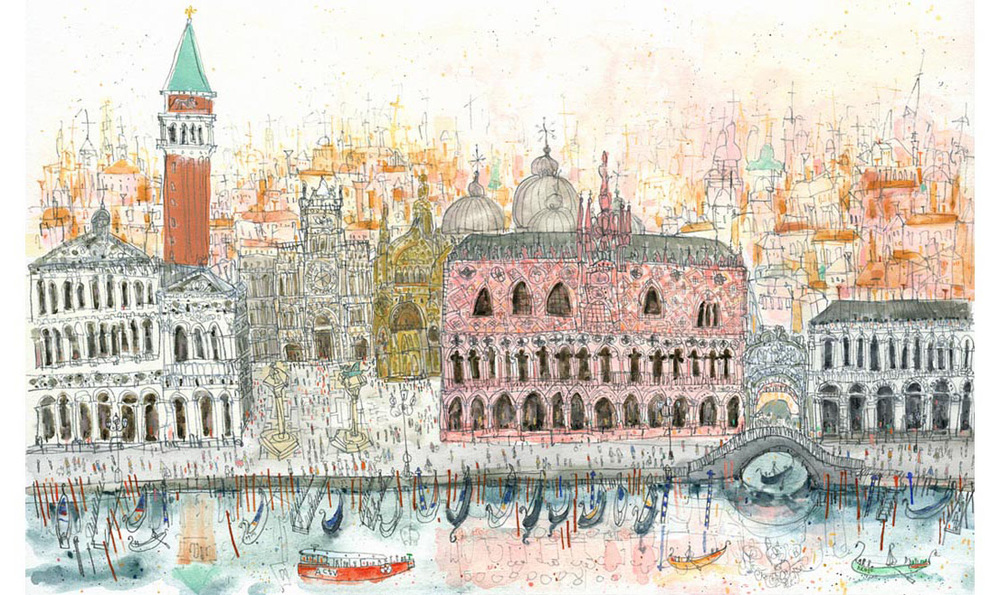'Arriving at Piazza San Marco Venice'  Giclee print Edition size 195 48 x 30cm   £165
