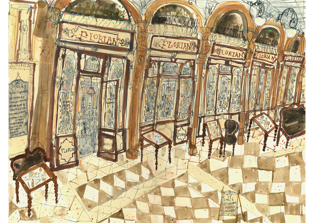 'Cafe Florian San Marco Venice'  Giclee print Image size 40 x 30 cm Edition size 195    £140