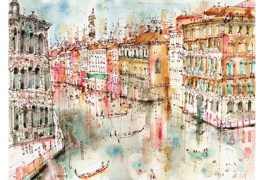 'View from Rialto Bridge Venice'  Giclee print Image Size 40.7 x 29.7 cm Edition size 195    £145