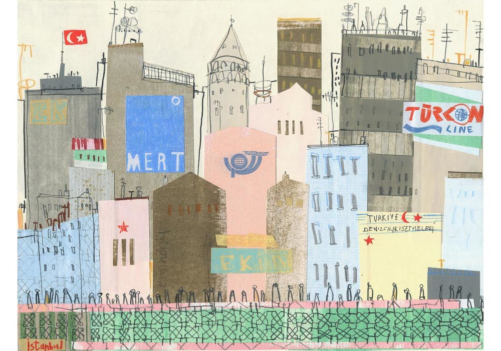 'Walking over Galata Bridge'        Giclee print         Image size approx A3    Edition size 195     £140
