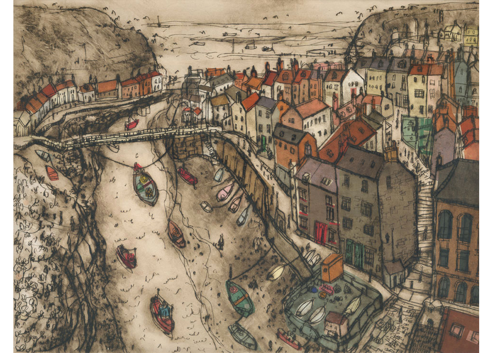 'Staithes'  Giclee print 39 x 30 cm Edition size 150  £145 (Also available 27.5 x 21 cm £85)