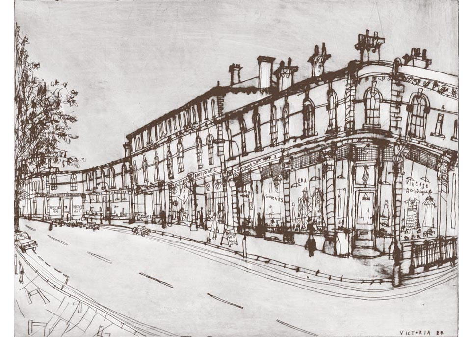 'Victoria Road Shops Saltaire'  Giclee print  39 x 30 cm Edition size 195  £140