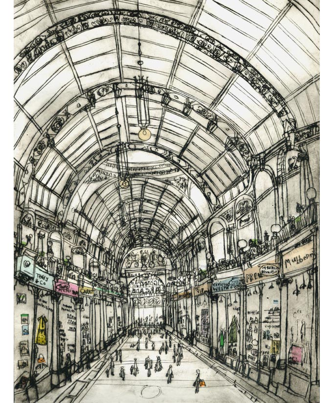 'Shopping in County Arcade'  Giclee print 30 x 39 cm Edition size 195 £140