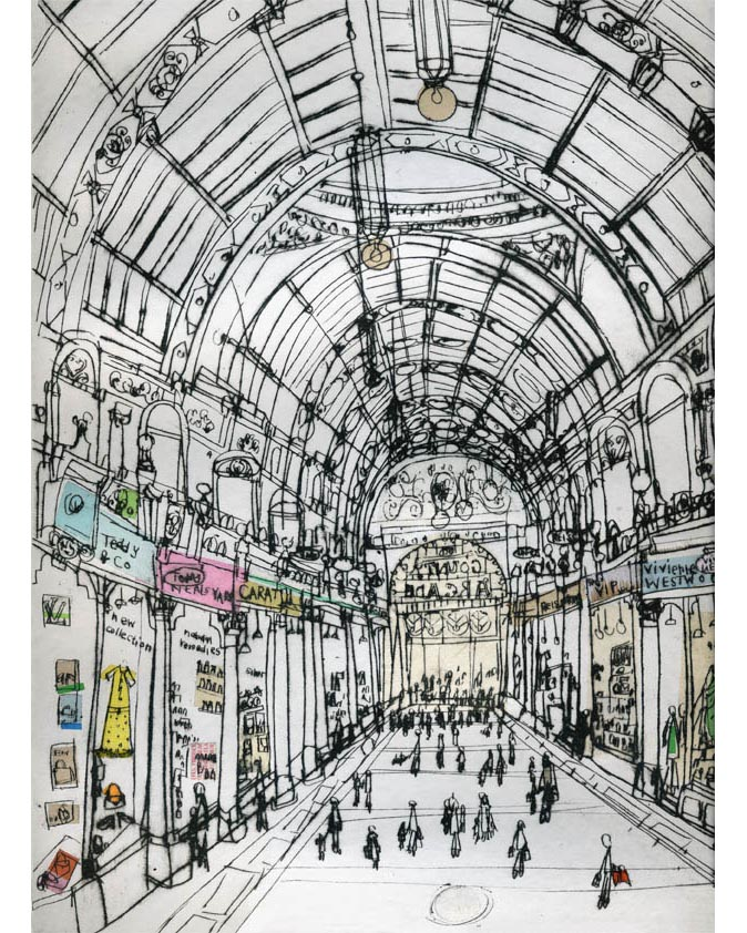 'Boutique Shopping, Victoria Quarter'  Giclee print 30 x 40.5 cm Edition size 195 £145