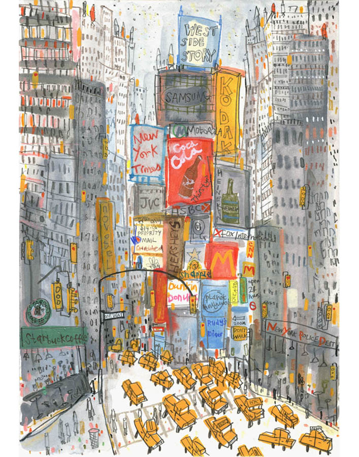 'Times Square Taxis'  Giclee print 29.5 x 42 cm Edition size 195   £145
