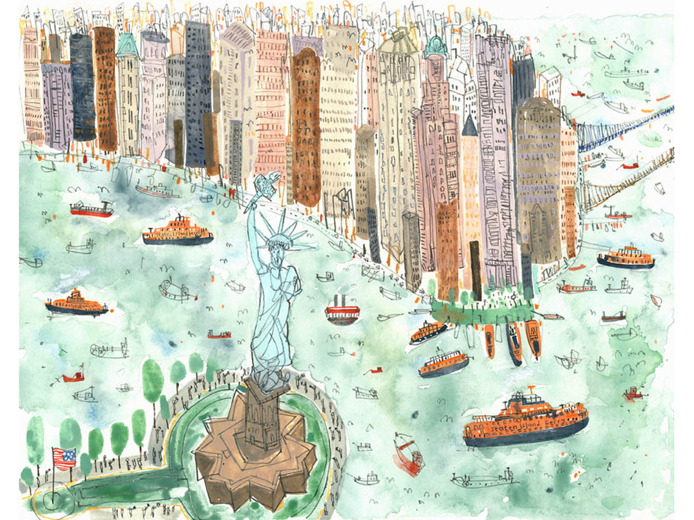 'Statue of Liberty & Staten Island Ferries NYC'  Giclee print Image size 37.5 x 30 cm Edition size 195   £145