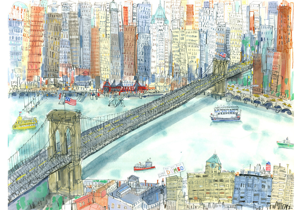 'Brooklyn Bridge New York  '  Giclee print Image size 48 x 35 cm Edition size 195     £175