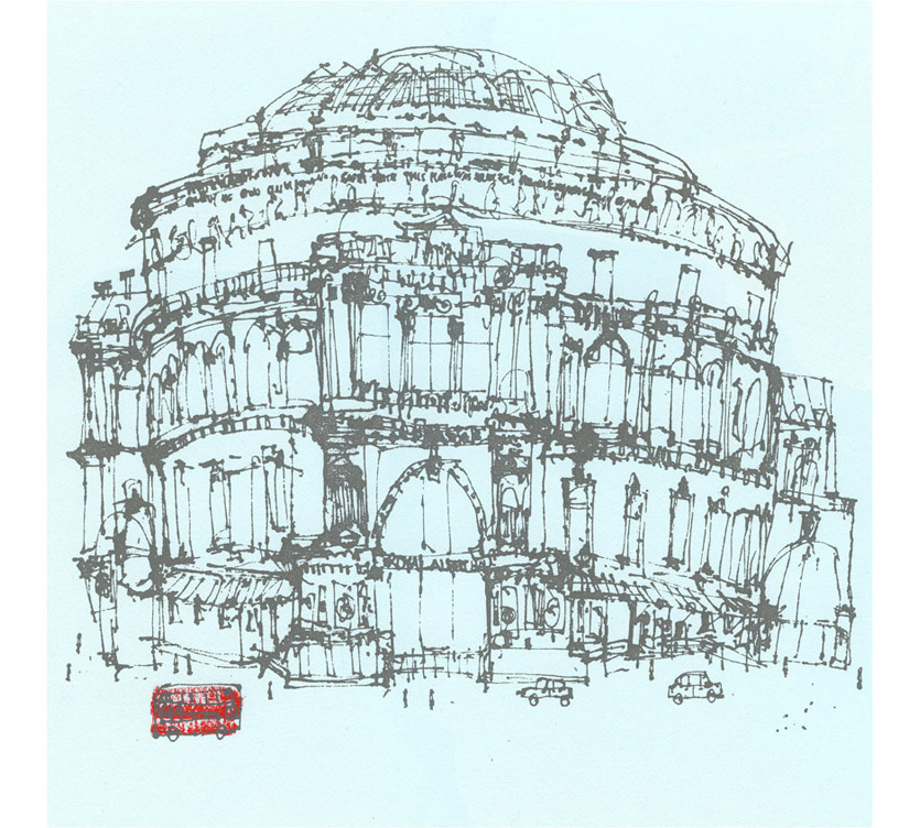 'Royal Albert Hall & London Red Bus  handpainted acrylic & screenprint 33 x 33 cm Edition size 150 £195