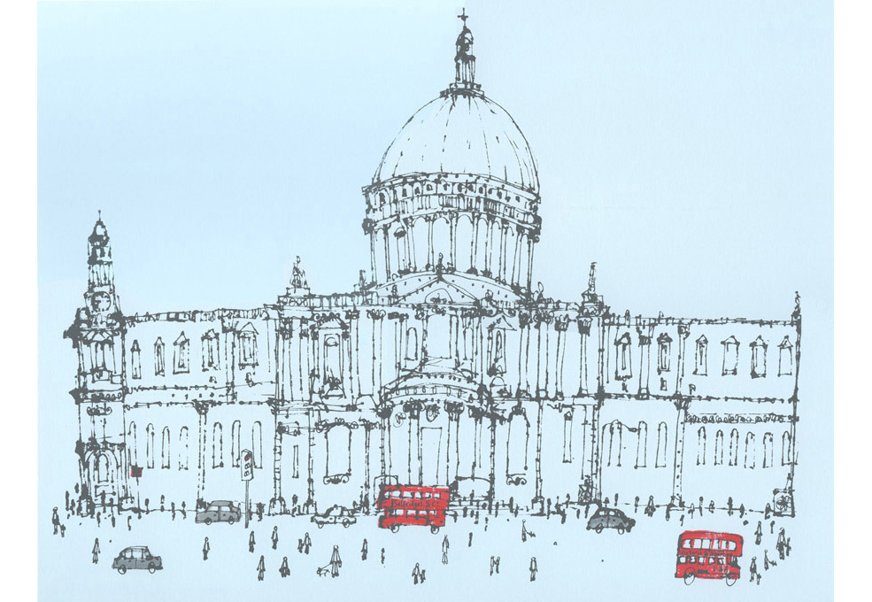 St. Paul's Cathedral, London H andpainted acrylic & screenprint 46 x 37 cm    Edition size 150 £220