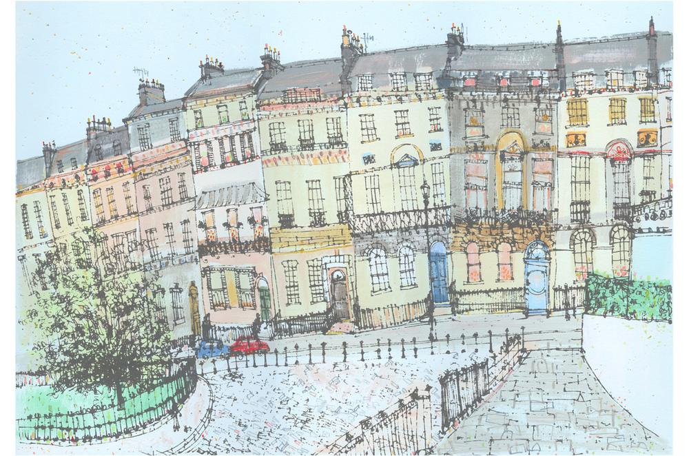 Marlborough Buildings, Bath  Handpainted acrylic, screenprint & pencil 50 x 34 cm   Edition size 150 £295