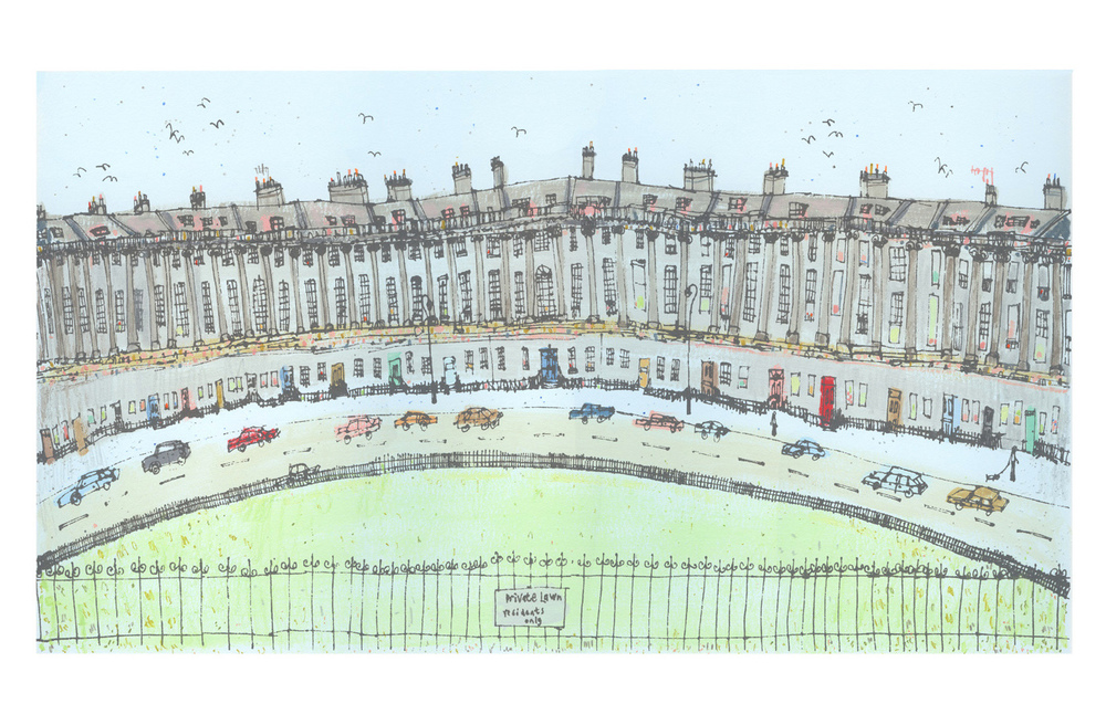 Royal Crescent, Bath  Handpainted acrylic screenprint & pencil 54 x 30 cm   Edition size 150 £295