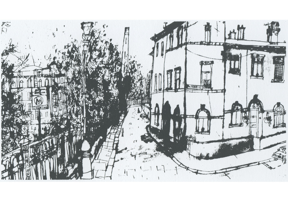 View along Albert Terrace, Saltaire  Screenprint  14 x 25 cm Edition size 150   £50
