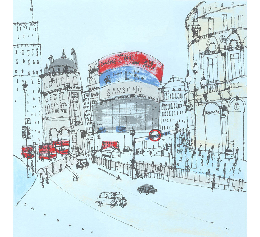 Piccadilly Circus London  Handpainted acrylic & screenprint 33 x 33 cm     Edition size 150 £220