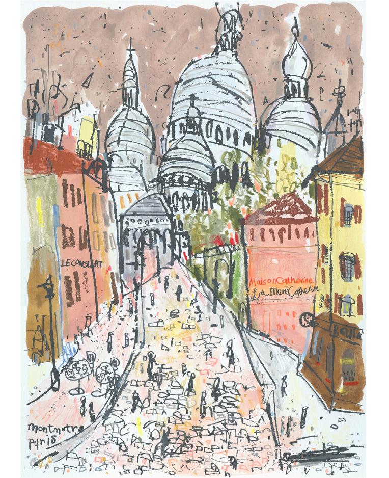 Sacre Coeur Montmartre  Handpainted watercolour pencil &screenprint 24 x 34 cm Edition size 150 £195